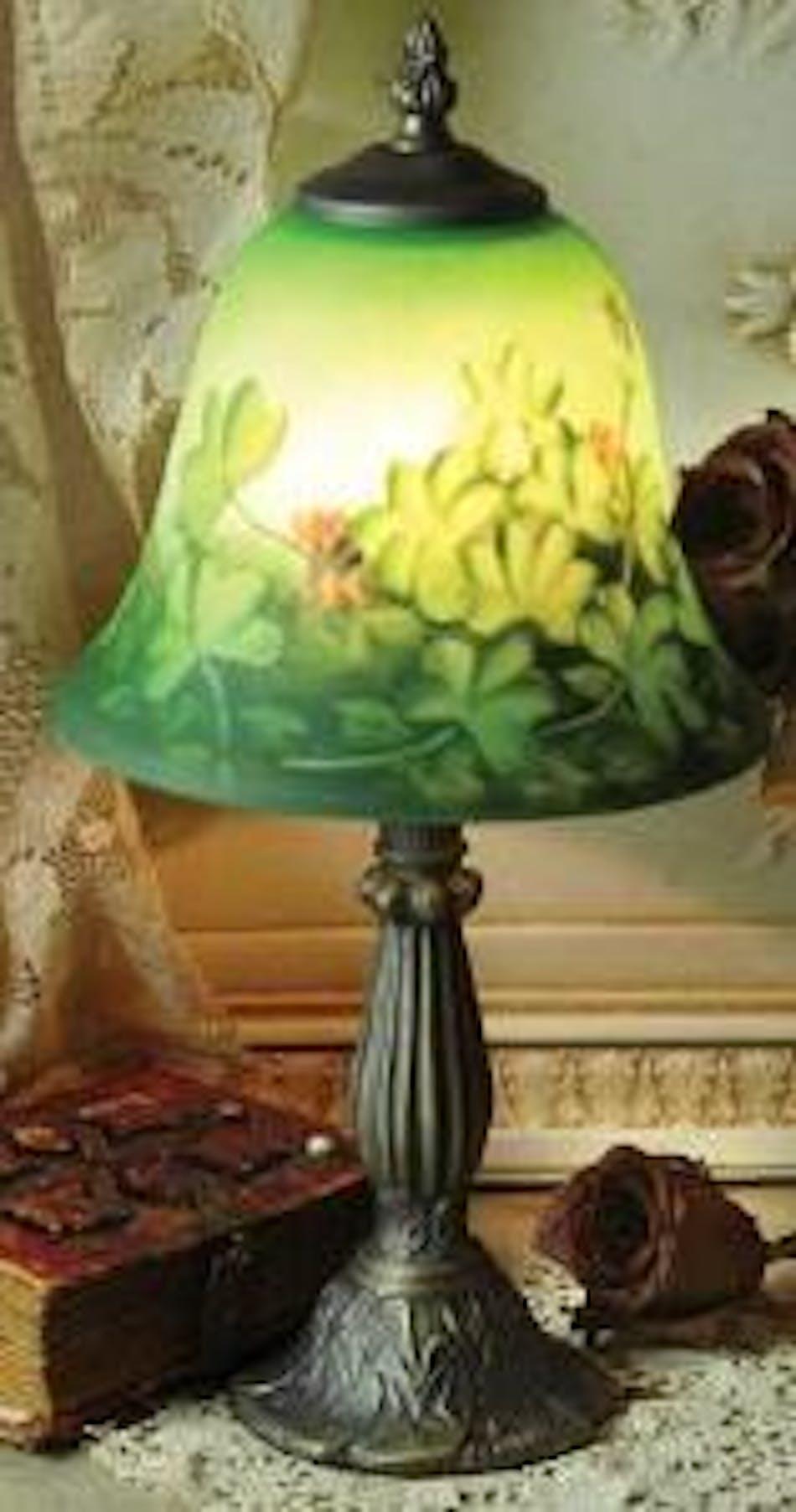 Irish Reverse Hand Painted Shamrock Lamp From Our Irish