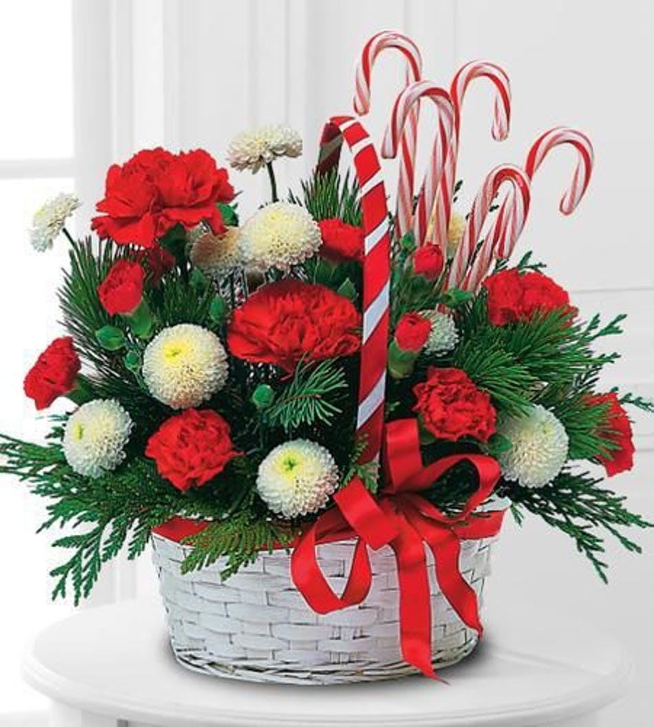 Candy Cane Basket Durocher Florist Holiday Flowers And Gifts