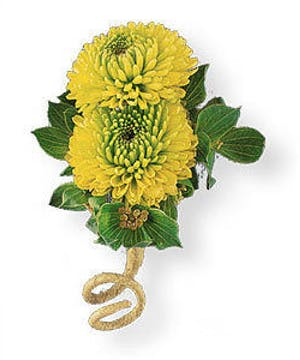 Chartreuse Button Pom Boutonniere