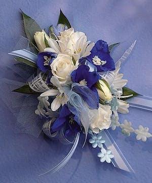 Wrist Corsage- Blue & White