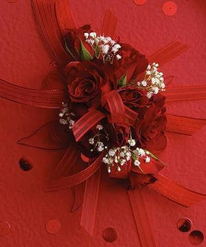 Wrist Corsage- Red Spray Roses