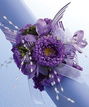 Wrist Corsage- Lavender Asters