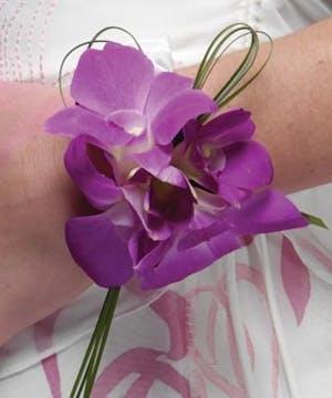 Wrist Corsage- Purple Orchids