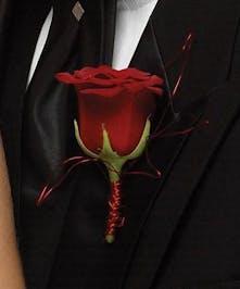 Rose Boutonniere w/stem detail
