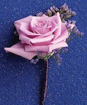 Single Lavender Rose Boutonniere