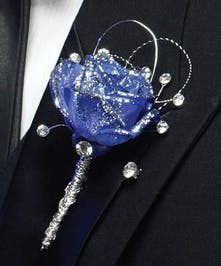 Prom- Blue Rose Boutonniere w/Jewels