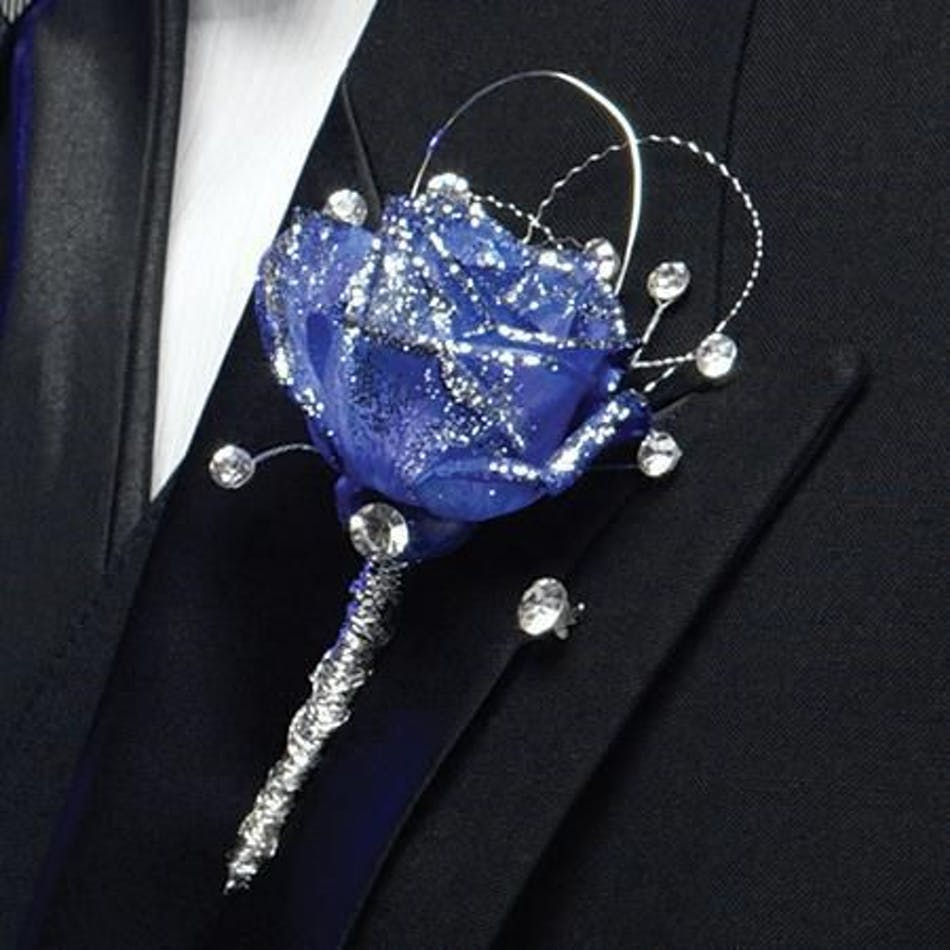 Blue rose boutonniere wjewels durocher florist boutonnieres will call only izmirmasajfo Gallery
