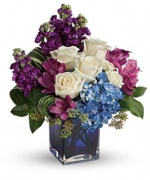 Portrait in Purple Bouquet
