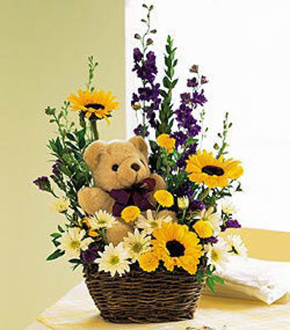 A Special Gift: Assorted Fresh Cut Flowers & Teddy Bear Gift Inc ...