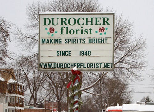 Making Spirits Bright Since 1948, boasts our street sign